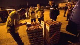 Des gendarmes discutant autour de la prise du jour : 1,6 tonnes de champignons saisis dans le Vercors. ( MAXPPP)