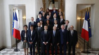 Le gouvernement pose, dans l'entrée du palais de l'Elysée (Paris), le 18 mai 2017. (PHILIPPE WOJAZER / POOL / AFP)