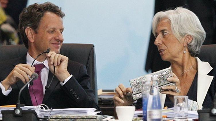 Le secrétaire du trésor Timothy Geithner et la ministre des Fiances Christine Lagarde, lors du G20. (AFP - Andy Wong)