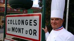 Paul Bocuse à Collonges au Mont d'Or (Rhône) oùse trouve l'Auberge du Pont de Collonges, le restaurant du chef cuisinier. (ALEXANDRE MARCHI. / MAXPPP)