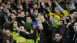 Les supporters de Nantes réclament une faute, lors de la demi-finale de la Coupe de la Ligue Nantes-PSG, le 4 février 2014. (JEAN-FRANCOIS MONIER / AFP)