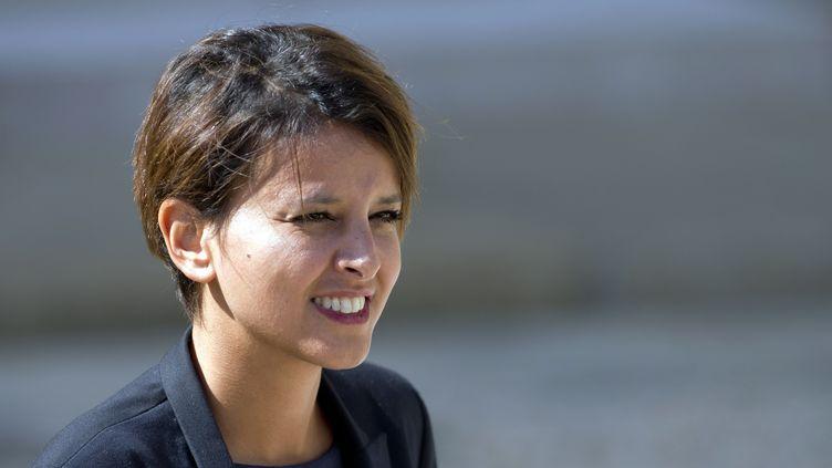 La ministre de l'Education nationaleNajat Vallaud-Belkacem, le 3 septembre 2014, dans la cour de l'Elysée, à Paris. (ALAIN JOCARD / AFP)