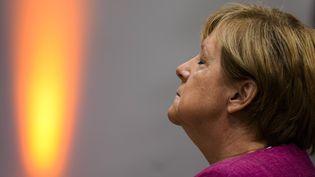 La chancelière allemande Angela Merkel dans les locaux de la CDU à Berlin le 6 septembre 2021. (MARKUS SCHREIBER / POOL)