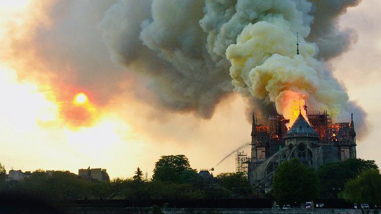 L'incendie de la cathédrale s'est déclaré le 15 avril 2019 dans la soirée. (FOUAD MAGHRANE / AFP)