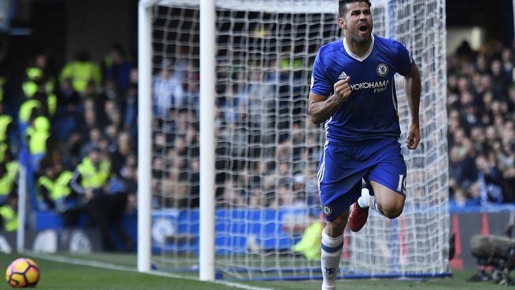 Diego Costa, l'attaquant de Chelsea, buteur face à West Bromwich Albion (1-0), le 11 décembre 2016, à Stamford Bridge. (JUSTIN TALLIS / AFP)