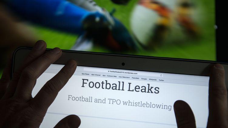 """Capture d'écran de la plateforme internet des """"Football Leaks"""", le 11 février 2016, à Leipzig (Allemagne). (HENDRIK SCHMIDT / DPA / AFP)"""