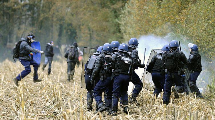 Les forces de l'ordre et les manifestants anti-aéroport s'affrontent à Notre-Dame-des-Landes (Loire-Atlantique), le 24 novembre 2012. (JEAN-SEBASTIEN EVRARD / AFP)