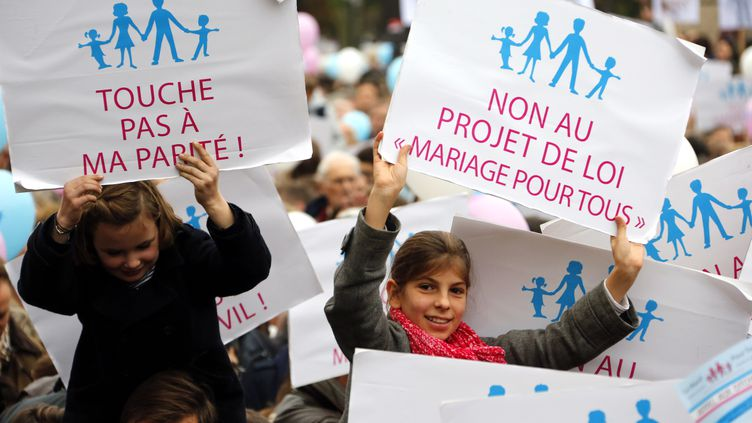 """Des enfants brandissant des pancartes contre le mariage des homos, lors de la """"manif pour tous"""" le 17 novembre 2012 à Paris. (PIERRE VERDY / AFP)"""