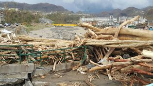 Des dégâts causés par le passage de l'ouragan Maria à Roseau (Dominique), le 20 septembre 2017. (STR / AFP)