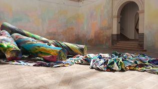 """Ingres Wood de Katharina Grosse, une des 40 œuvres de l'exposition """"La couleur crue"""" au musée des Beaux-arts de Rennes. (ANNE CHEPEAU / RADIO FRANCE)"""