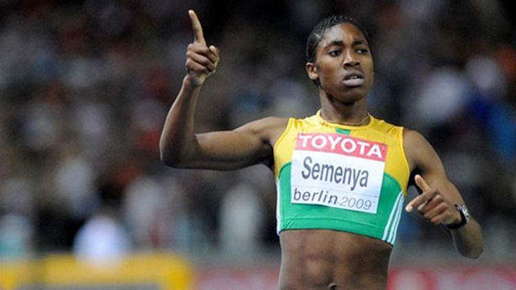 Caster Semenya aux Mondiaux d'athlétisme de Berlin en 2009