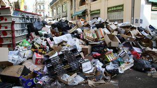 Des ordures non ramassées à Marseille (Bouches-du-Rhône), le 28 mars 2017. (MAXPPP)