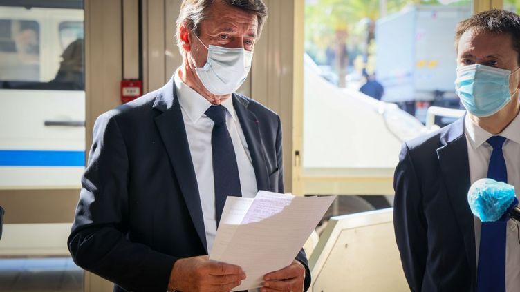 Le maire LR de Nice (Alpes-Maritimes), Christian Estrosi, au Palais des expositions de Nice, le 15 octobre 2020. (ARIE BOTBOL / HANS LUCAS / AFP)