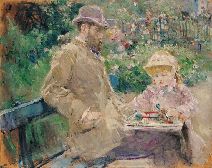 """Berthe Morisot, """"Eugène Manet et sa fille dans le jardin de Bougival"""", 1881, Legs Annie Rouart, 1993, Paris, musée Marmottan Monet (© Musée Marmottan Monet, Paris)"""