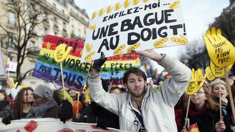 Le cortège de la manifestation pour l'ouverture du mariage aux couples homosexuels dimanche 27 janvier 2013 à Paris. (KENZO TRIBOUILLARD / AFP)