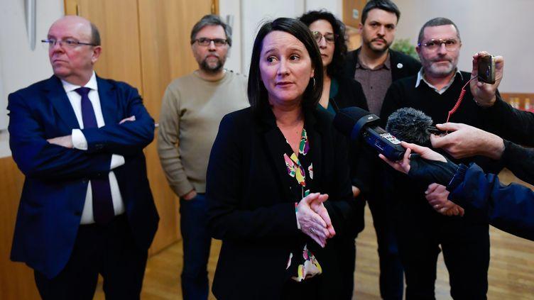 Johanna Rolland, maire sortante de Nantes (Loire-Atlantique), s'exprime sur le premier tour des élections municipales, le 15 mars 2020. (FRANCK DUBRAY / MAXPPP)