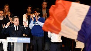 Nicolas Sarkozy, lors d'un meeting à Marseille, le 27 octobre 2016. (ANNE-CHRISTINE POUJOULAT / AFP)
