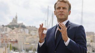 Emmanuel Macronen déplacement à Marseille, le 3 septembre 2021. (LUDOVIC MARIN / AFP)