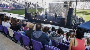 Concert au stade Bloofield de Tel-Aviv avec un public vacciné contre la covid-19, le 5 mars 2021 (JACK GUEZ / AFP)