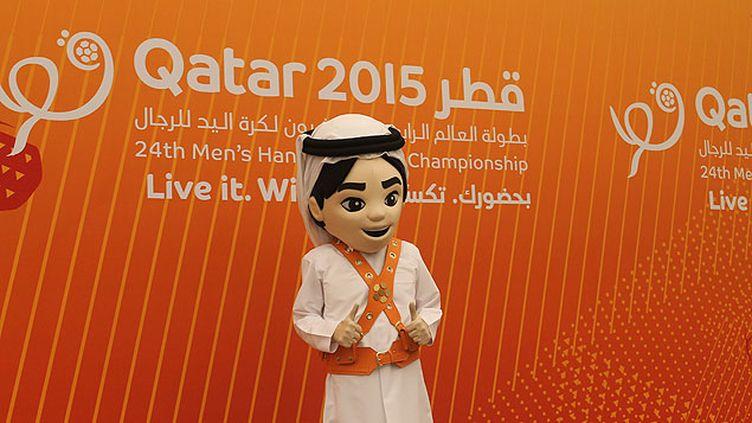 (Fahad, la mascotte du championnat du monde de Handball © Radio France / Laxmi Lota)