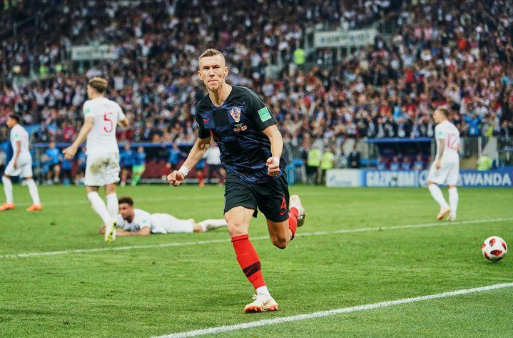 Ivan Perisic célèbre son but face à l'Angleterre en demi-finale de la Coupe du monde, le 11 juillet 2018 (ULRIK PEDERSEN / NURPHOTO)