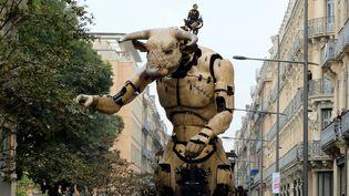 Le Minotaure de La Machine fait ses premiers pas à Toulouse.  (PHOTOPQR/LA DEPECHE DU MIDI/MAXPPP)