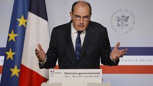 Le Premier ministre Jean Castex lors d'une conférence de presse, à Paris, le 8 septembre 2021 (LUDOVIC MARIN / AFP)