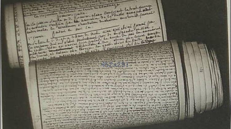 """Le manuscrit original des """"Cent vingt journées de Sodome"""", de Sade, écrit en 1785 à la prison de la Bastille. (WIKIMEDIA COMMONS)"""