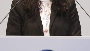 Daniela Cavallo s'exprime lors de la réunion d'entreprise de Volkswagen à l'usine VW de Wolfsburg, en Allemagne, le 20 mars 2019. (KEVIN NOBS HANDOUT / MAXPPP)