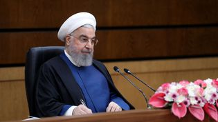 Le président iranien Hassan Rohani lors d'une cérémonieà Téhéran, le 10 avril 2021. (IRANIAN PRESIDENCY/HANDOUT / ANADOLU AGENCY / AFP)