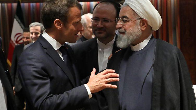Le président français Emmanuel Macron et son homologue iranien Hassan Rohani au siège des Nations Unies à New York le 23 septembre 2019 (LUDOVIC MARIN / AFP)