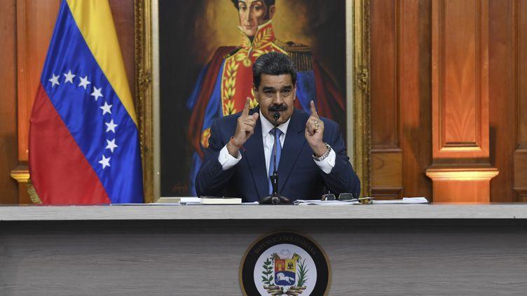 Le président vénézuélien Nicolas Maduro lors d'une conférence de presse, vendredi 14 février 2020 à Caracas. (YURI CORTEZ / AFP)
