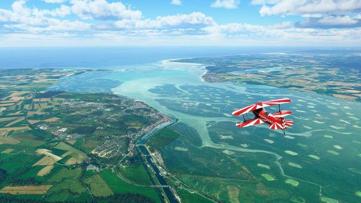 La baie de Somme reproduite dans le jeu Microsoft Flight Simulator. (MICROSOFT)