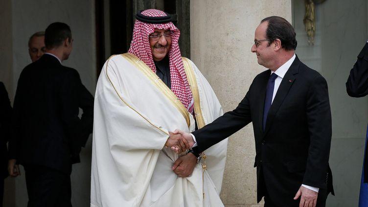 (Le prince héritier Mohammed Ben Nayef reçu par François Hollande au Palais de l'Elysée © MaxPPP)