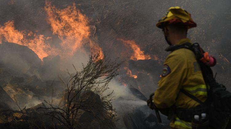Un pompier lutte contre un incendie vers Lake Forest (Californie), le 3 décembre 2020. Photo d'illustration. (PATRICK T. FALLON / AFP)