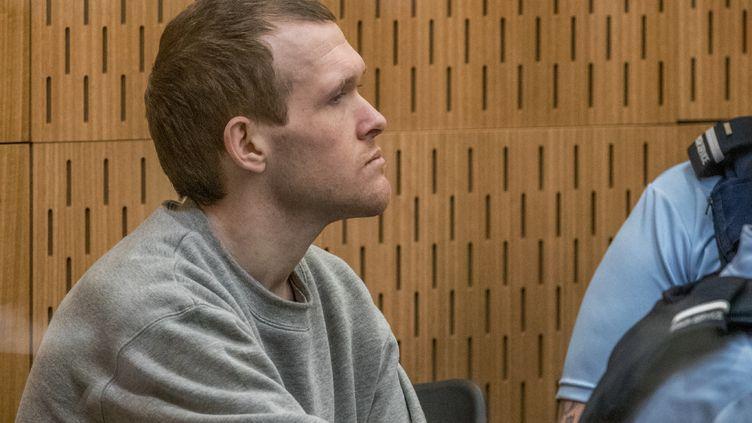 Le suprémaciste blanc, BrentonTarrant, lors de son procès, le 26 août 2020. (JOHN KIRK-ANDERSON / POOL)