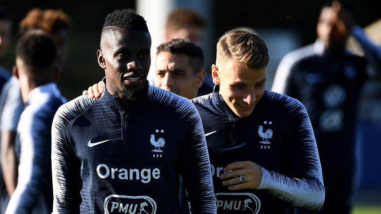 Blaise Matuidi, à gauche, lors d'un entraînement dans les Yvelines, le 2 septembre 2019. (FRANCK FIFE / AFP)