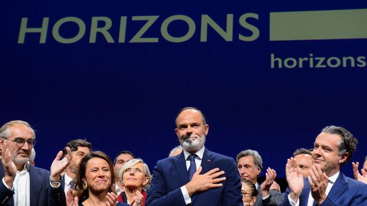 Le maire du Havre et ancien Premier ministre français Edouard Philippe, lors du lancement de son parti Horizons, au Havre (Seine-Maritime), le 9 octobre 2021. (JEAN-FRANCOIS MONIER / AFP)