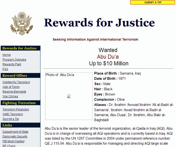 Fiche de récompense pour Abou Bakr-Al Baghdadi, sous son ancien nom, Abu Du'a, diffusé en 2005 parle service de sécurité du département d'État des États-Unis(capture d'écran). (WWW.REWARDSFORJUSTICE.NET)