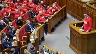 L'opposantVitali Klitschko devant le Parlement ukrainien, le 24 octobre 2013. (GENYA SAVILOV / AFP)