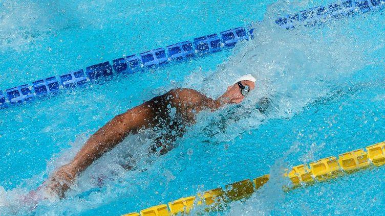 Florent Manaudou a réalise le doublé 50-100m libre en l'espace de trois jours. (ANDREAS SOLARO / AFP)