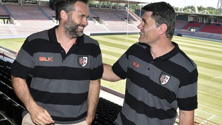 Ugo Mola et Fabien Pelous, les nouveaux visages à la tête du Stade Toulousain (PASCAL PAVANI / AFP)