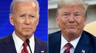 A gauche, le candidat démocrate à la présidentielle américaine, Joe Biden. A droite, le candidat républicain et président sortant, Donald Trump. (ROBYN BECK / AFP)