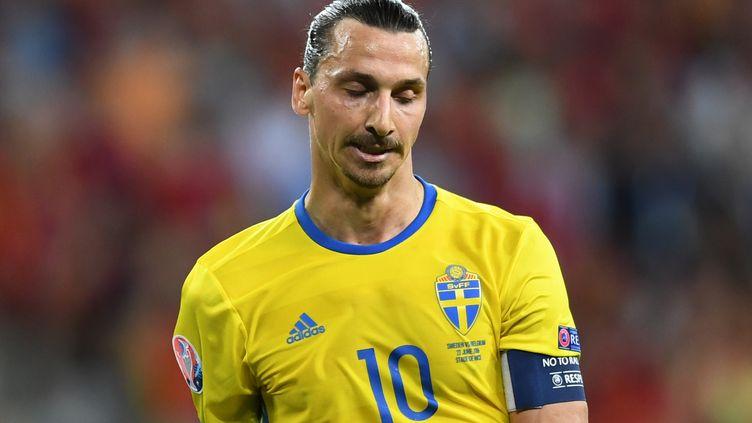 Zlatan Ibrahimovic grimace lors du match compliqué de la Suède contre la Belgique, finalement perdu 1-0 par les Suédois, le 22 juin 2016 à Nice. (FEDERICO GAMBARINI / DPA)