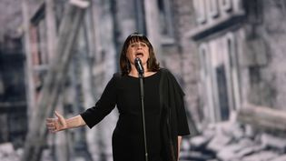 La Française Lisa Angell lors des répétitions de l'Eurovision, vendredi 22 mai à Vienne (Autriche). (JULIAN STRATENSCHULTE / DPA)