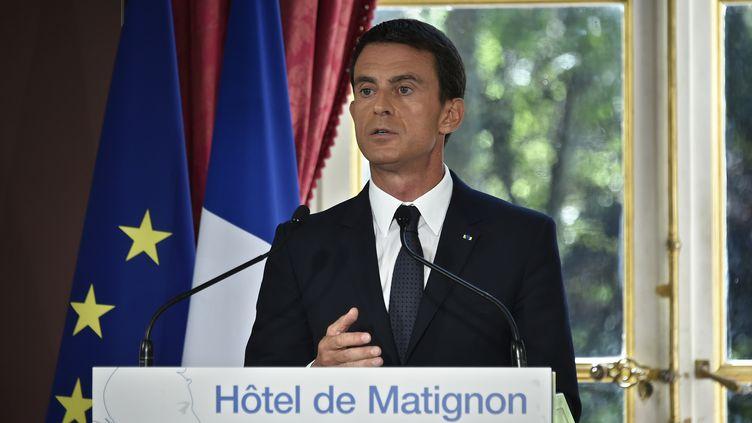 Le Premier ministre, Manuel Valls, le 9 septembre 2015 à l'hôtel Matignon. (DOMINIQUE FAGET / AFP)