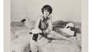 Photographie de la collection Jeanne Moreau, en vente chez Artcurial.ANONYMEJeanne Moreau au collier de perles et moutons Lalanne.Tirage. Estimation : 100 - 150 € (ARTCURIAL)