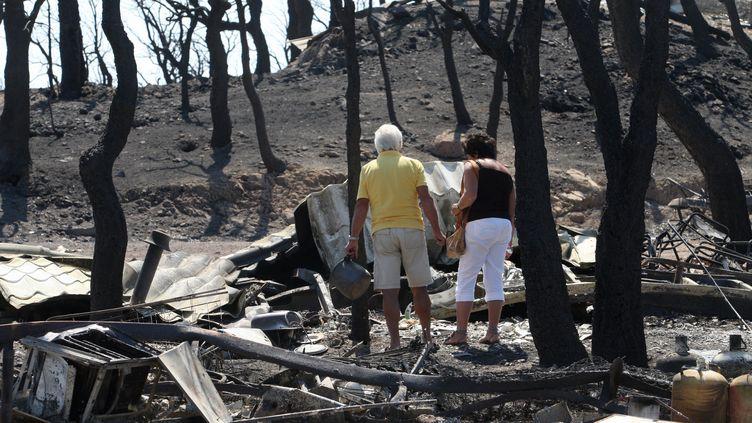 Le camping de Pedres complètement brûlé à près de Figueras en Espagne - le 23 juillet 2012 (RAYMOND ROIG / AFP)