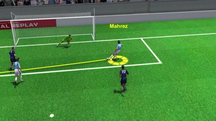 Le deuxième but (en 3D) de Riyad Mahrez qui conforte l'avancedes Citizens, lors de la demi-finale retour de Ligue des Champions entre le PSG et Manchester City, le mardi4 mai 2021. (AFP / franceinfo: sport)