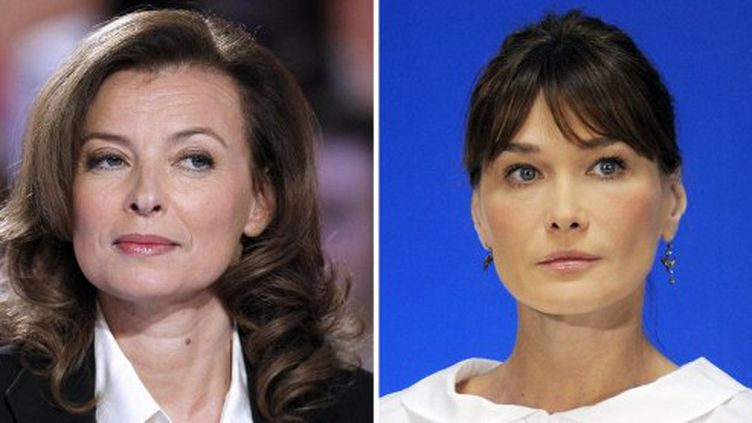 Valérie Trierweiler et Carla Bruni-Sarkozy (PATRICK KOVARIK / AFP)